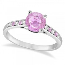Cathedral Pink Sapphire & Diamond Engagement Ring Platinum (1.20ct)