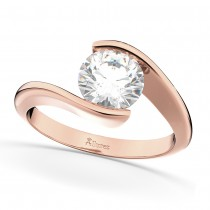 Tension Set Solitaire Diamond Engagement Ring 14k Rose Gold 2.00ct