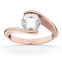 Tension Set Swirl Solitaire Engagement Ring Setting 14k Rose Gold