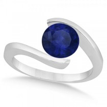 Tension Solitaire Blue Sapphire Engagement Ring 14k White Gold 2.00ct