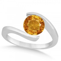 Tension Set Solitaire Citrine Engagement Ring 14k White Gold 2.00ct