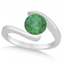 Tension Set Solitaire Emerald Engagement Ring 14k White Gold 1.00ct