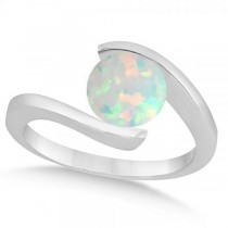 Tension Set Solitaire Opal Engagement Ring 14k White Gold 2.00ct