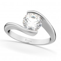 Tension Set Solitaire Moissanite Engagement Ring 14k White Gold 1.50ct