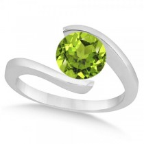 Tension Set Solitaire Peridot Engagement Ring 14k White Gold 2.00ct