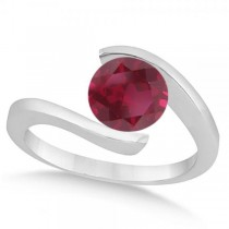 Tension Set Solitaire Ruby Engagement Ring 14k White Gold 2.00ct
