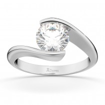 Tension Set Swirl Solitaire Engagement Ring Setting 18k White Gold
