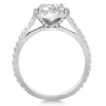 Halo Diamond Cathedral Engagement Ring Setting 18k White Gold (0.64ct)