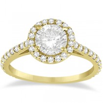 Halo Diamond Cathedral Engagement Ring Setting 18k Yellow Gold (0.64ct)