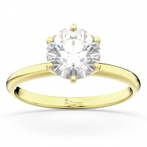 Six-Prong 18k Yellow Gold Solitaire Engagement Ring Setting