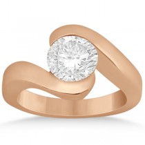 Twisted Bypass Solitaire Tension Set Engagement Ring 18k Rose Gold