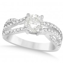 Diamond Accented Bypass Twisted Engagement Ring 14k White Gold 1.42ct