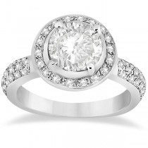 Halo Syle Diamond Engagement Ring Setting 18k White Gold (0.50ct)