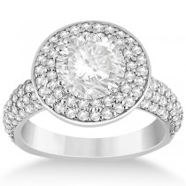 Pave Diamond Double Halo Engagement Ring 14k White Gold (1.09ct)