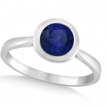 Floating Bezel Set Solitaire Blue Sapphire Engagement Ring 14k White Gold (1.00ct)