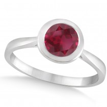 Floating Bezel Set Solitaire Ruby Engagement Ring 14k White Gold (1.00ct)