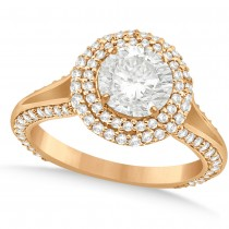 Double Halo Round Diamond Engagement Ring in 14k Rose Gold (2.00ct)