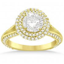 Double Halo Diamond Engagement Ring Setting 14k Yellow Gold (1.00ct)