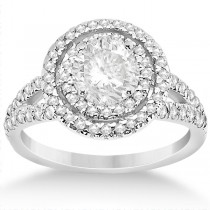 Double Halo Split Shank Diamond Engagement Ring 14k  White Gold 0.77ct