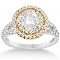 Double Halo Diamond Engagement Ring 14k Two Tone Gold 0.77ct