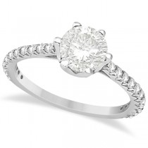 Side Stone Accented Diamond Engagement Ring in 14K White Gold 1.33ctw