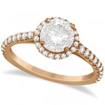 Halo Diamond Engagement Ring with Side Stone Accents 18K Rose Gold 1.50ct