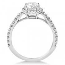Halo Diamond Engagement Ring w/ Side Stone Accents 14K W. Gold 1.00ct