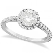 Halo Diamond Engagement Ring w/ Side Stone Accents 18K W. Gold 1.00ct