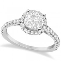 Halo Design Cushion Cut Diamond Engagement Ring 14K White Gold 0.88ct