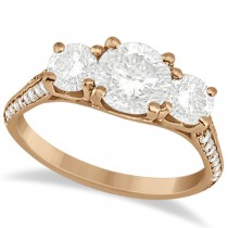 3 Stone Diamond Engagement Ring with Side Stones 14K Rose Gold 2.00ct