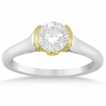 Diamond Semi Bezel Engagement Ring Setting 14k Two Tone Gold (0.03ct)
