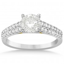 Diamond Two Row Engagement Ring Setting 14k Two Tone Gold (0.30ct)