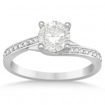 Diamond Accented Twisted Engagement Ring 14k White Gold (0.14ct)