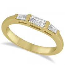 Three Stone Baguette Diamond Wedding Ring in 14K Yellow Gold (0.40ct)