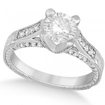 Diamond Antique Engagement Ring 14k White Gold (1.40ct)