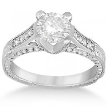 Antique Style Diamond Engagement Ring Setting 18k White Gold (0.40ct)