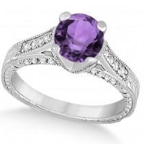 Diamond & Amethyst Antique Engagement Ring 14k White Gold (1.40ct)