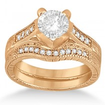 Antique Style Engagement Ring and Matching Wedding Band 18k Rose Gold