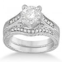 Antique Style Engagement Ring and Matching Wedding Band in Palladium