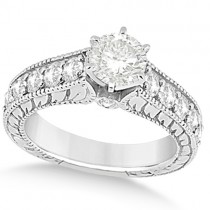 Vintage Diamond Accented Engagement Ring in 14k White Gold (2.05ct)