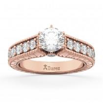 Vintage Diamond Engagement Ring Setting 14k Rose Gold (1.05ct)