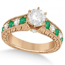Vintage Diamond and Emerald Engagement Ring 14k Rose Gold (2.23ct)