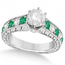 Vintage Diamond and Emerald Engagement Ring in Platinum (2.23ct)