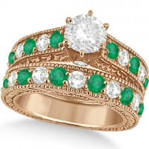 Antique Diamond and Emerald Bridal Ring Set 18k Rose Gold (3.51ct)
