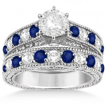 Antique Diamond & Sapphire Bridal Ring Set in Solid Palladium (2.87ct)