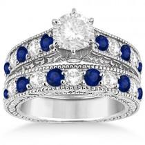 Antique Diamond and Sapphire Bridal Ring Set in Platinum (2.87ct)