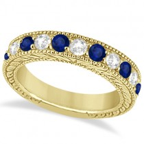 Antique Diamond & Sapphire Wedding Ring Band 14k Yellow Gold (1.46ct)