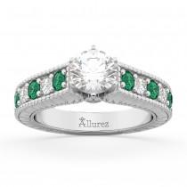 Vintage Diamond & Emerald Engagement Ring 14k White Gold (1.23ct)