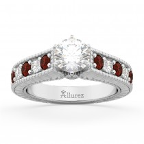 Vintage Diamond & Garnet Engagement Ring Setting in Platinum (1.35ct)