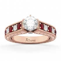 Vintage Diamond & Ruby Engagement Ring Setting 14k Rose Gold (1.35ct)